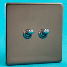 Varilight 2 Gang 10A 1 or 2 Way Toggle Light Switch Screwless Pewter/Slate Grey Finish - XDRT2S
